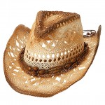 Straw Cowboy Hats: Paper Straw w/ Tea Stained - Natural - HT-8173NT